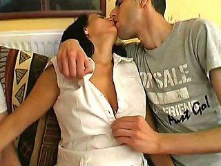 Hairy French Milf Sonia Takes 2 Cocks